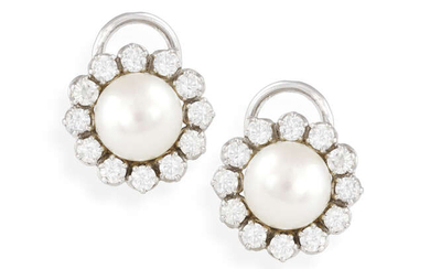 A PAIR OF CULTURED PEARL AND DIAMOND EARRINGS,...