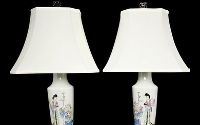 A Pair of Chinese Famille Rose Figural Vases