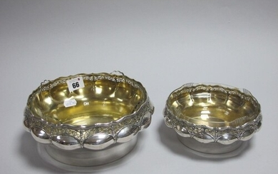 A Pair of Decorative German Silver Graduated Dishes, each of...