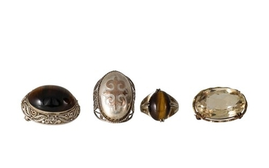 A SILVER (.925) TIGER'S EYE BROOCH, together with a silver t...