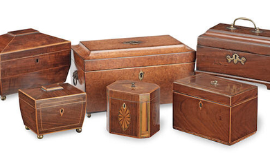 A collection of six late 18th / early 19th century wooden tea caddies