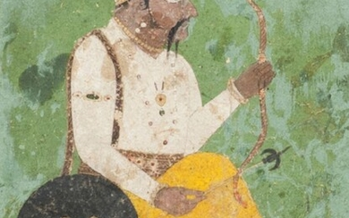 A portrait of a nobleman with bow and arrow, Basohli school, c. 1690, shown seated and barefoot, his shield carried over his shoulder, his bow in one hand and arrow in the other, framed, painting 20 x 15cm. Private Collection UK since the 1980s