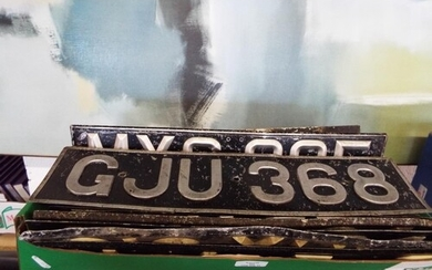 A selection of vintage number plates