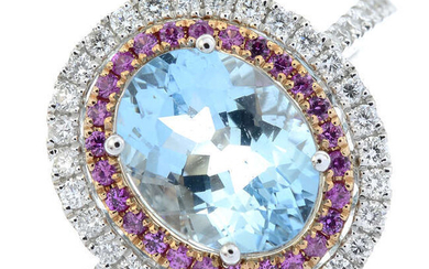 An 18ct gold aquamarine, pink sapphire and brilliant-cut diamond oval-shape cluster ring.