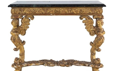 An Italian Giltwood Marble-Top Console Table