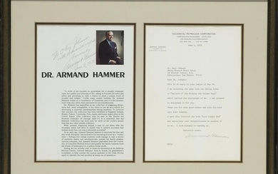 Armand Hammer TLS and Signed Magazine Page, 1978