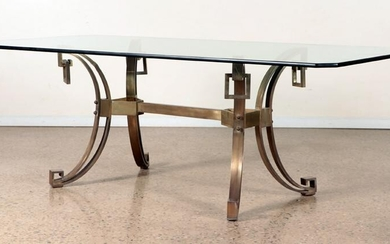 BRONZE AND GLASS DINING TABLE CIRCA 1960