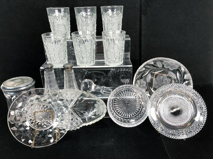 COLLECTION OF CUT CRYSTAL & GLASS & STERLING S&P