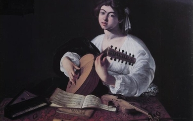 Caravaggio, The Lute Player, Poster on board