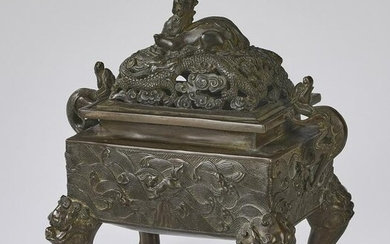 Chinese Ming style bronze dragon censer