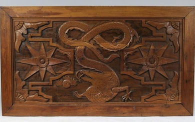 "Chinese carved wood dragon panel, 42""l"