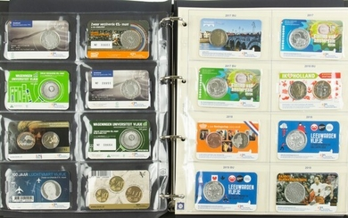 Collection medals and euro coins in coincards, 2 albums