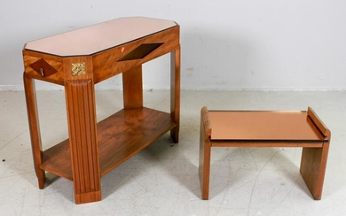 Deco style walnut and glass 2-tier console table