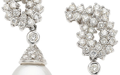 Diamond, South Sea Cultured Pearl, White Gold Earrings Stones:...