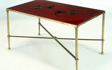 FRENCH NEOCLASSICAL STYLE BRASS COFFEE TABLE 1950