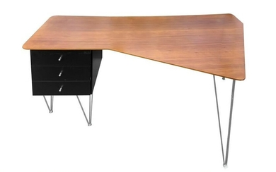 Italian production desk, plywood top covered in cherry.