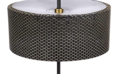 John & Sylvia Reid (British), a desk lamp for Rotaflex Lighting Ltd, c.1956, A scarce model, the adjustable perforated shade on steel, square-section stand with white circular base, 64cm high Property of a Private Collection.