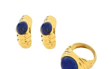 Lapis and 18K Ring and Earrings