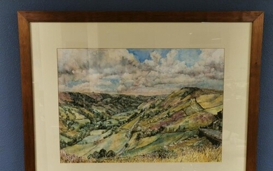 Large Shibden Valley Watercolour by Margaret Uttley (1965-)