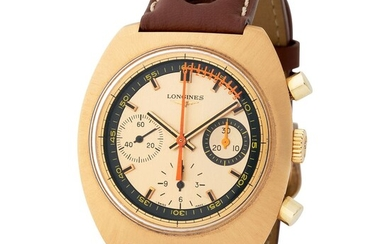 """Longines. Special and Unusual Chronograph Wristwatch in Yellow Gold, Reference 8273, With Champagne Dial, """"Vernier"""" Scale and extract from archives"""