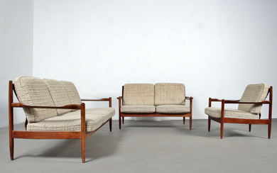 Lounge suite from the 1960s / 70s: 3-seater sofa, 2-seater sofa and armchair.