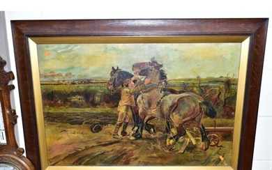 M. COLLINS (20TH CENTURY) 'HEAVY HORSES' a pair of heavy hor...