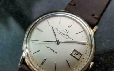 Mens IWC 34mm 18k Solid White Gold 1960s Date Automatic