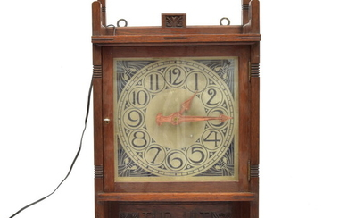 """Oak electric """"Art Nouveau"""" wall clock decorated with cut decorations,..."""