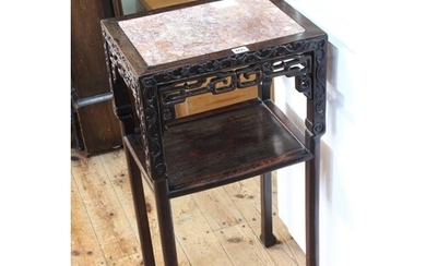 Oriental hardwood and marble inset two tier table, 81.5cm by...