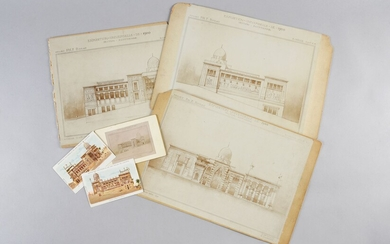 PALACE OF EGYPTFOR THE 1900 UNIVERSAL EXHIBITION.Set of three large photographic prints mounted on cardboard, dated April 1898, representing the pavilion built by the French architect Marcel Dourgon (1858-1911), for the 1900 Universal Exhibition...