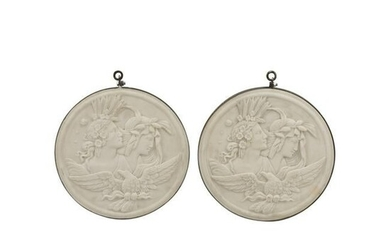 Pair of Carved Marble Relief Plaques.