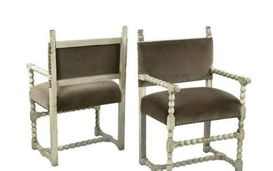 Pair of French Louis XIII Style Fauteuils