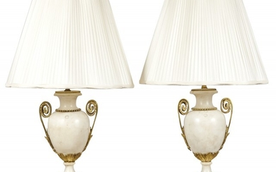 Pair of Louis XVI Style Gilt Bronze Mounted Marble Lamps
