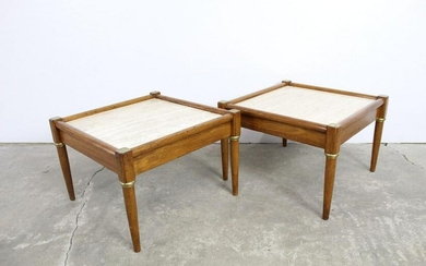 Pair of Marble Top,Brass Wood Square Side/Coffee Tables