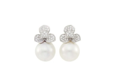 Pair of White Gold, South Sea Cultured Pearl and Diamond Earrings