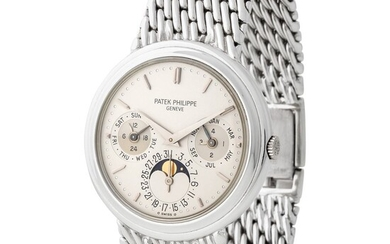 Patek Philippe. Extremely Rare and Attractive Perpetual Calendar Wristwatch in White Gold Reference 3945/1, With Moon Phases and Extract from Archives