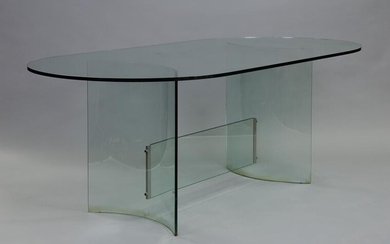 Post Modern Oval Glass Dining Table