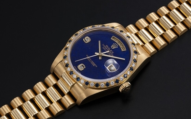 ROLEX, A GOLD OYSTER PERPETUAL DAY-DATE WITH SAPPHIRE AND DIAMOND CRUSTED BEZEL AND LAPIS-LAZULI DIAL, REF. 18148