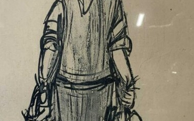 Signed Woman Holding Chickens Ink Drawing on Paper