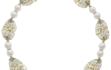 South Sea Cultured Pearls, Diamond, Seed Pearl, Gold Necklace...