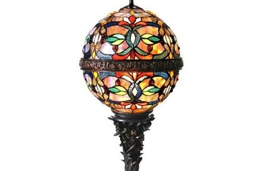 Stained Art Glass Globe Table Lamp
