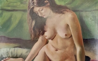 """Trapero, Enric (20th / 21st century) """"Sitting female nude"""", young woman sitting on a cushion, with"""