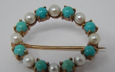 Victorian Turquoise & Pearl 9ct Gold Circular Brooch.