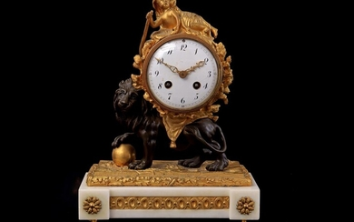 (-), Fire-gilt Empire clock with child in lionskin...
