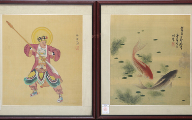 (2) Chinese paintings: 1st goldfish by Ning Zhanga; the 2nd of sacred warrior