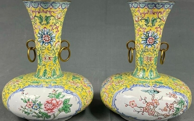 2 vases. Probably China antique. Probably cloisonné