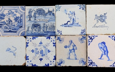 (-), 8 glazed earthenware tiles with blue and...