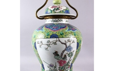 A CHINESE FAMILLE VERTE PORCELAIN VASE / LAMP, with panel de...