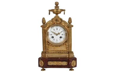 A FRENCH GILT BRONZE AND MARBLE MANTEL CLOCK BY BERTHOIS, 19TH CENTURY
