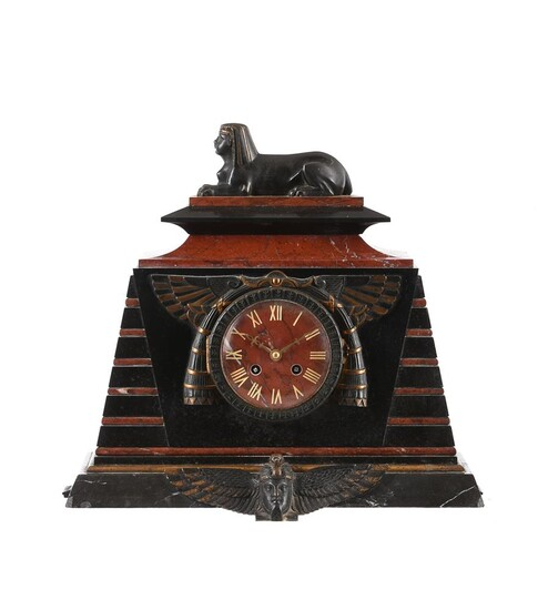 A French Egyptian revival bronze mounted marble mantel clock
